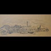 Jane levin Chamberlain Graphite on Paper Sausalito c.1970