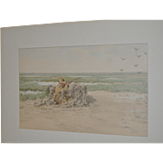 "Rare A.B. Frost Color Chromolithograph ""Bay Snipe"" c.1895"