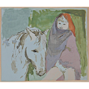 Child and the Horse Color Serigraph c.1950's