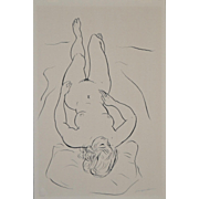 Vintage 1960's Figural Nude Pen & Ink
