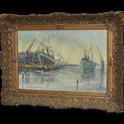 Impressionist Dutch Harbor Painting by Bertus de Mey c.1940