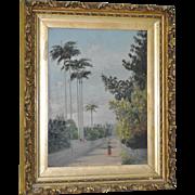 Royal Palms Bermuda Oil Painting c.1900