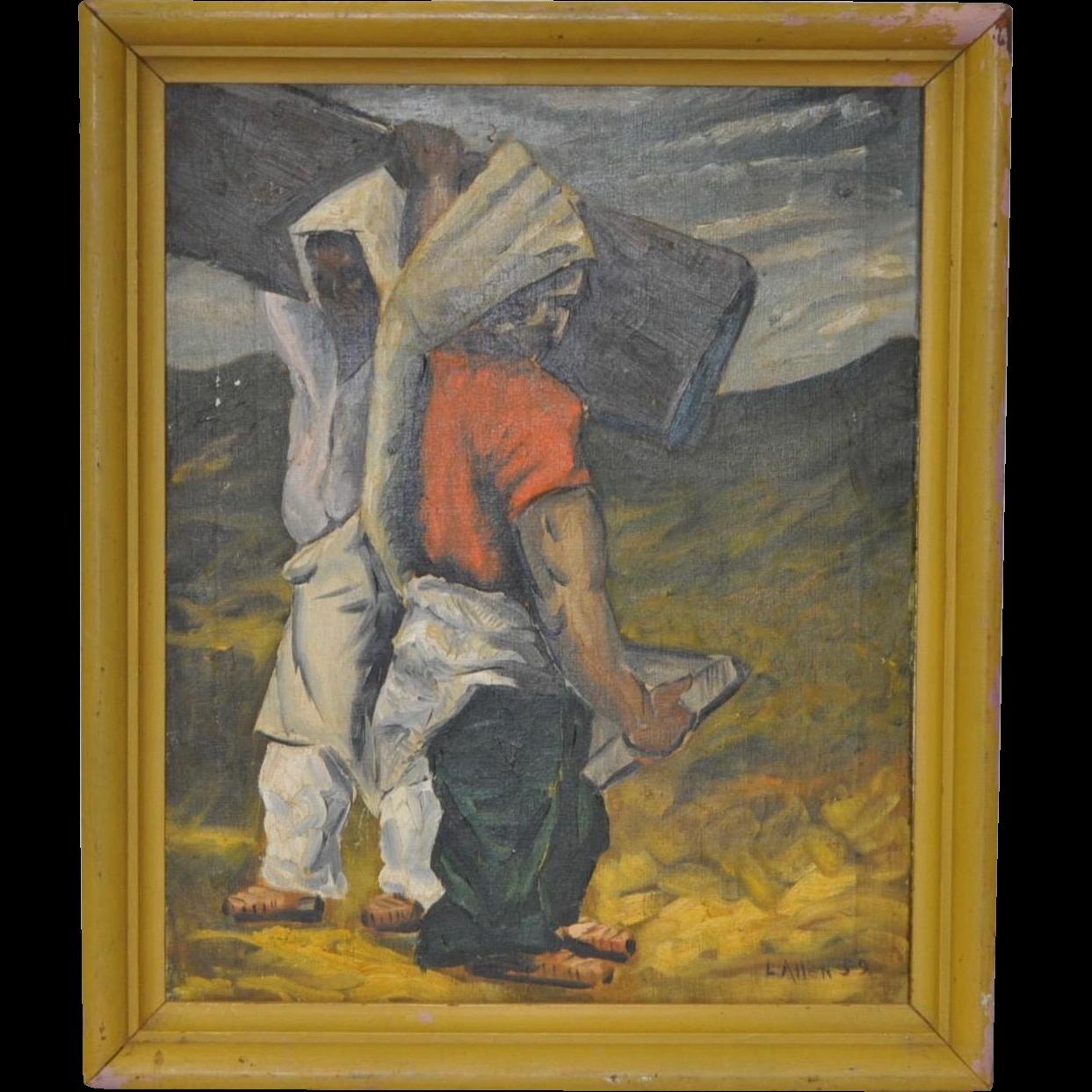 Mid Century Oil Painting By L Allen C 1959 Antique
