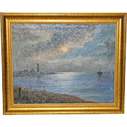 Harbor with Lighthouse Oil Painting c.1920's