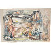"Melvin ""Mel"" Brenner (1920-1998) California Abstract Landscape c.1950's"