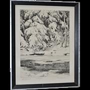 Ronau Woiceske (1887-1953) The Spirit of Winter Etching c.1920