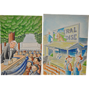 Pair of Burr Shafer (1899-1965) Original Political Cartoon Illustrations c.1930s