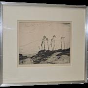 "Chauncey F. Ryder Etching ""New Boston Farm"" c.1920s"