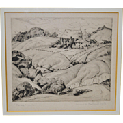 """Jeanette Maxfield Lewis (1894-1982) """"Carmel Mission"""" Etching c.1934"""