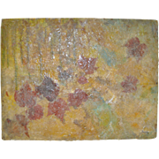 Carmine Sena Abstract Mixed Media Collage w/ Leaves & Butterfly