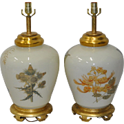 Pair of Decalcomania Botanical Lamps