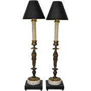Pair of Converted 19th c. French Candlestick Table Lamps