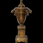 Handsome Brass Urn on Plinth Table Lamp