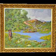 Vintage Mountain Landscape Oil Painting