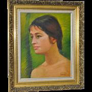 Helen Clark Oldfield Modernist Oil Portrait c.1970