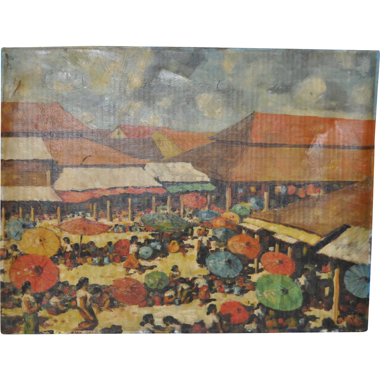 Vintage Brazilian Beach Scene Oil Painting From Antique