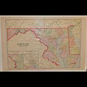 Vintage Maryland & Delaware Map c.1950