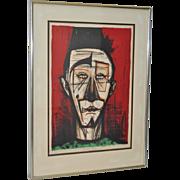"Bernard Buffet ""Clown with Fez"" Signed Color Lithograph c.1968"