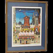 "Eugene Valentin Latour ""Moulin Rouge"" Lithograph c.1980s"