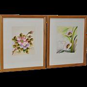 Pair of Vintage Floral Watercolors by Kahatcha