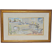 "Original Pastel & Watercolor ""Bedroom Interior"" by Bruno Martini c.1950s"