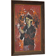 Classic 1960s Oil Painting of a  Young Girl w/ Flower