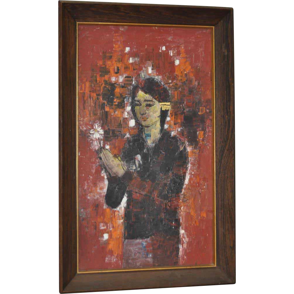 Classic 1960s Oil Painting Of A Young Girl W Flower From
