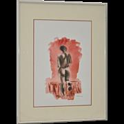 """Warren Brandon (1916 - 1977) """"Pink Nude"""" Watercolor c.1950s"""
