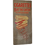 Vintage Cigarette Advertising Sign on Metal c.1950