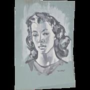"William Littlefield ""Woman"" Original Gouache on Paper c.1940s"