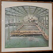 Vintage Sutro Baths Lithograph c.1970s