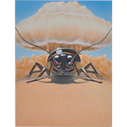 Rare Original Surreal Insecticide Illustration c.1980s