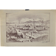 Vintage San Francisco Etching by Alec Stern c.1960s