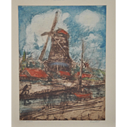 David Rosenthal (1876-1949) Color Etching c.1940