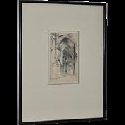 John Taylor Arms (1887-1953) Notre Dame Etching c.1949