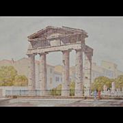 "John Applegate ""Athenian Ruin"" Watercolor c.1950s"
