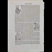 Nuremberg Chronicle Original Leaf Woodcut c.1493