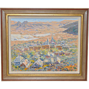 Western Mountain Village Landscape Oil Painting