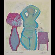 Arthur Krakower (1921-2009) Original Nude w/ Flowers c.2009