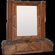 Antique Tramp Art Vanity Mirror c.1900