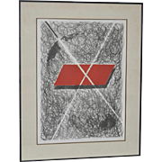 Abstract Black Red & White Lithograph