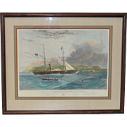"""Hand Color Engraving of H.M. Steam Frigate """"Geyser"""" c.1850s"""