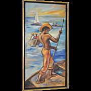 Edouard Wah 1938-2003 (Haitian) Original Oil Painting c.1960s