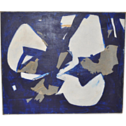 Vintage Blue & White Mixed Media Abstract Painting by Bauer c.1960s