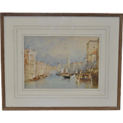 Vintage Venice Italy Watercolor Painting c.1950