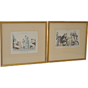 Pair of Antique French Hand Colored Engravings c.1890s