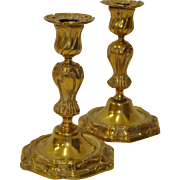 Pair of Fine French Gilded Bronze Candlesticks 19th c.