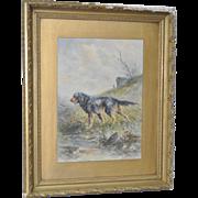 "Hugo Anton Fisher Original Watercolor ""Swiss Mountain Dog"" c.1900"