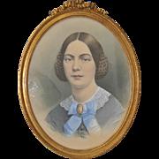 G.W. Morse Antique Watercolor Photo Portrait c.1870s