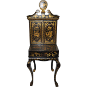 19th Century Hand Painted Chinoiserie Desk w/ Sewing Cabinet